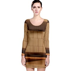 Architecture Art Boxes Brown Long Sleeve Bodycon Dress
