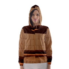 Architecture Art Boxes Brown Hooded Wind Breaker (women)