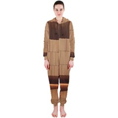 Architecture Art Boxes Brown Hooded Jumpsuit (ladies)