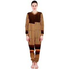 Architecture Art Boxes Brown Onepiece Jumpsuit (ladies)