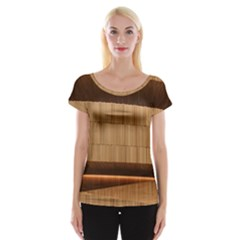 Architecture Art Boxes Brown Women s Cap Sleeve Top
