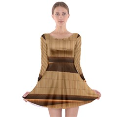Architecture Art Boxes Brown Long Sleeve Skater Dress