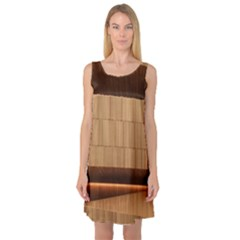 Architecture Art Boxes Brown Sleeveless Satin Nightdress