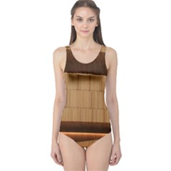 Architecture Art Boxes Brown One Piece Swimsuit