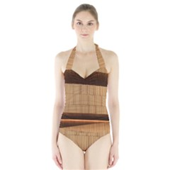 Architecture Art Boxes Brown Halter Swimsuit