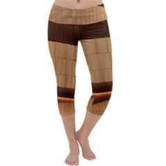 Architecture Art Boxes Brown Capri Yoga Leggings