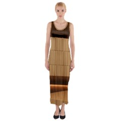 Architecture Art Boxes Brown Fitted Maxi Dress