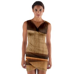 Architecture Art Boxes Brown Wrap Front Bodycon Dress