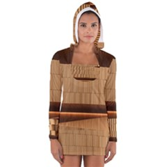Architecture Art Boxes Brown Women s Long Sleeve Hooded T Shirt