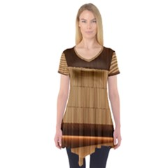 Architecture Art Boxes Brown Short Sleeve Tunic