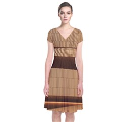 Architecture Art Boxes Brown Short Sleeve Front Wrap Dress