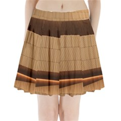 Architecture Art Boxes Brown Pleated Mini Skirt
