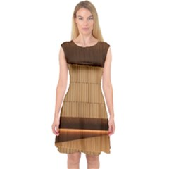 Architecture Art Boxes Brown Capsleeve Midi Dress