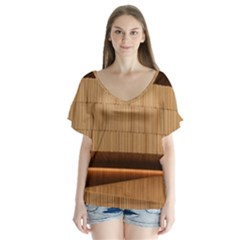 Architecture Art Boxes Brown Flutter Sleeve Top