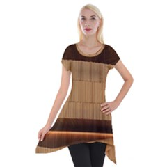 Architecture Art Boxes Brown Short Sleeve Side Drop Tunic