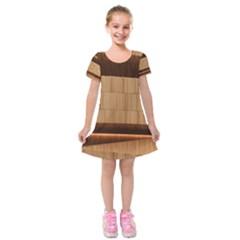 Architecture Art Boxes Brown Kids  Short Sleeve Velvet Dress