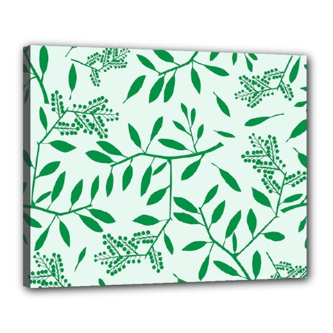 Leaves Foliage Green Wallpaper Canvas 20  X 16