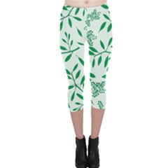 Leaves Foliage Green Wallpaper Capri Leggings