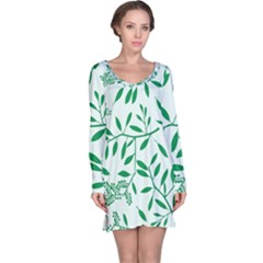 Leaves Foliage Green Wallpaper Long Sleeve Nightdress