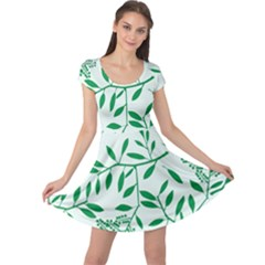 Leaves Foliage Green Wallpaper Cap Sleeve Dresses