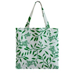 Leaves Foliage Green Wallpaper Zipper Grocery Tote Bag