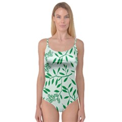 Leaves Foliage Green Wallpaper Camisole Leotard