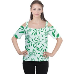 Leaves Foliage Green Wallpaper Women s Cutout Shoulder Tee