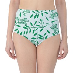 Leaves Foliage Green Wallpaper High Waist Bikini Bottoms