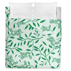 Leaves Foliage Green Wallpaper Duvet Cover Double Side (queen Size)