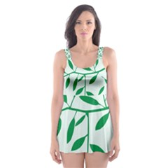 Leaves Foliage Green Wallpaper Skater Dress Swimsuit