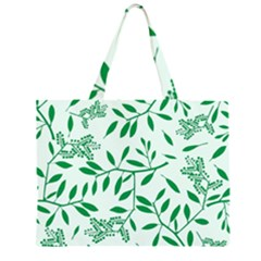 Leaves Foliage Green Wallpaper Large Tote Bag