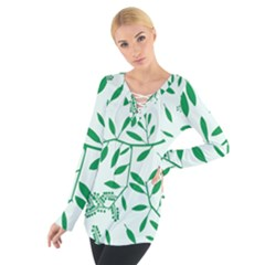 Leaves Foliage Green Wallpaper Women s Tie Up Tee