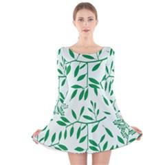 Leaves Foliage Green Wallpaper Long Sleeve Velvet Skater Dress