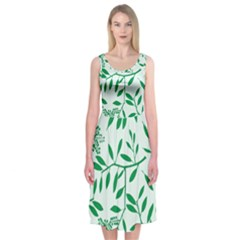Leaves Foliage Green Wallpaper Midi Sleeveless Dress