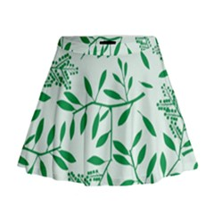 Leaves Foliage Green Wallpaper Mini Flare Skirt