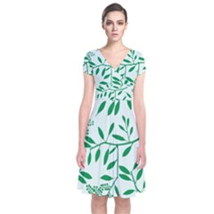 Leaves Foliage Green Wallpaper Short Sleeve Front Wrap Dress