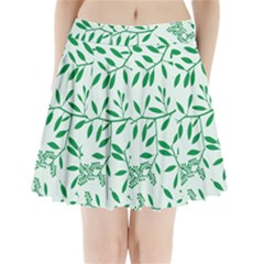 Leaves Foliage Green Wallpaper Pleated Mini Skirt