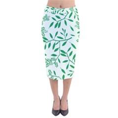 Leaves Foliage Green Wallpaper Velvet Midi Pencil Skirt