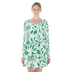 Leaves Foliage Green Wallpaper Long Sleeve Velvet V Neck Dress