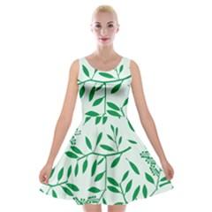 Leaves Foliage Green Wallpaper Velvet Skater Dress
