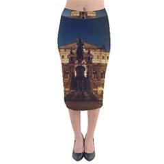 Dresden Semper Opera House Velvet Midi Pencil Skirt