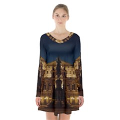 Dresden Semper Opera House Long Sleeve Velvet V Neck Dress