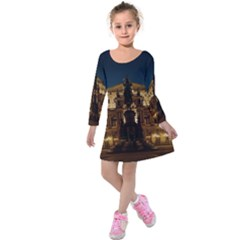 Dresden Semper Opera House Kids  Long Sleeve Velvet Dress