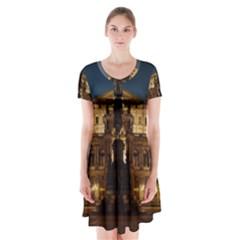 Dresden Semper Opera House Short Sleeve V Neck Flare Dress