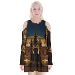 Dresden Semper Opera House Velvet Long Sleeve Shoulder Cutout Dress