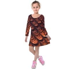 Fractal Mathematics Frax Kids  Long Sleeve Velvet Dress