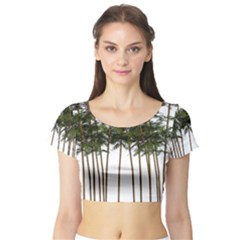 Bamboo Plant Wellness Digital Art Short Sleeve Crop Top (tight Fit)