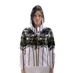 Bamboo Plant Wellness Digital Art Hooded Wind Breaker (women)