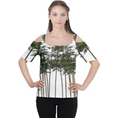 Bamboo Plant Wellness Digital Art Women s Cutout Shoulder Tee