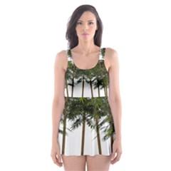 Bamboo Plant Wellness Digital Art Skater Dress Swimsuit
